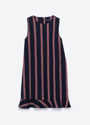 Платье в полоску с рюшами воланами zara6 фото