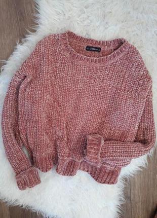 Велюровый розовый свитер zara3 фото