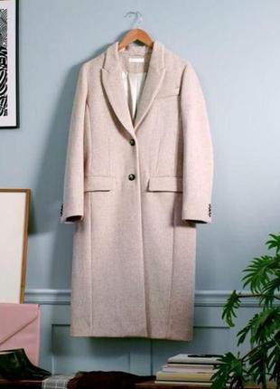 Шерстяное бежевое кремовое белое пальто h&m1 фото