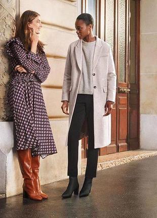 Шерстяное бежевое кремовое белое пальто h&m6 фото