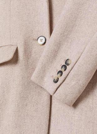 Шерстяное бежевое кремовое белое пальто h&m5 фото