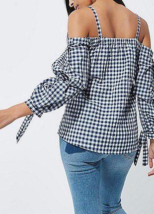 Блуза рубашка в клетку с открытыми плечами zara4 фото