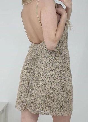 Бежевое базовое платье на бретельках кружево zara3 фото