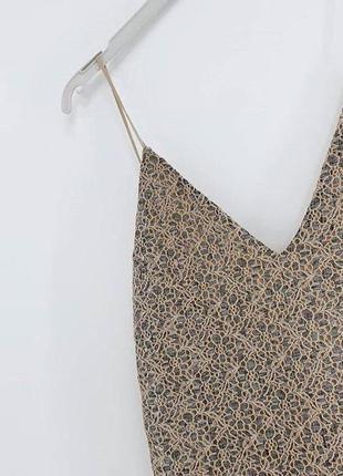 Бежевое базовое платье на бретельках кружево zara2 фото