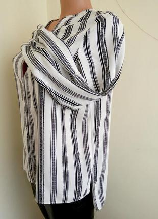 Блуза черно белая в полоску zara zara4 фото
