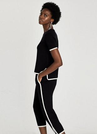 Черно белая блуза футболка zara zara2 фото