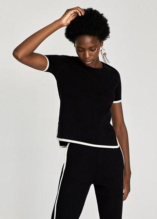 Черно белая блуза футболка zara zara1 фото