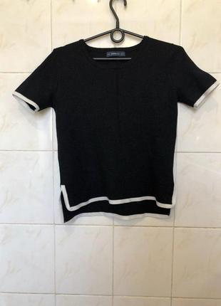 Черно белая блуза футболка zara zara6 фото