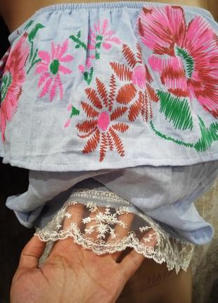 Новый сиреневый топ-блуза с открытыми плечами |оборкой |кружевной вставкой2 фото