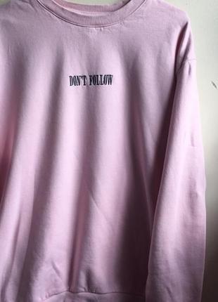 Свитшот пайта свободный оверсайз follow hm розовый длинный платье2 фото