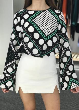 Блуза в горошек зеленого цвета zara1 фото