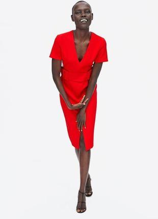Красное платье с поясом с v вырезом zara3 фото