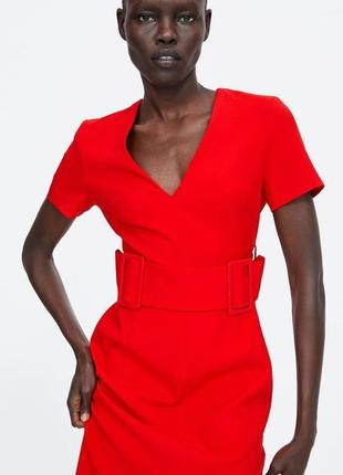 Красное платье с поясом с v вырезом zara6 фото