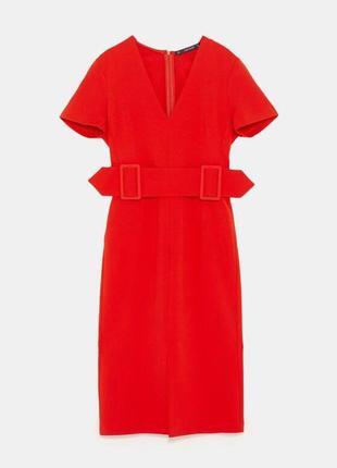 Красное платье с поясом с v вырезом zara5 фото