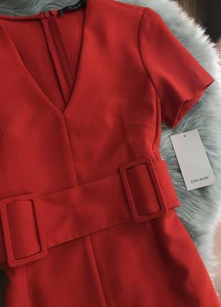 Красное платье с поясом с v вырезом zara2 фото