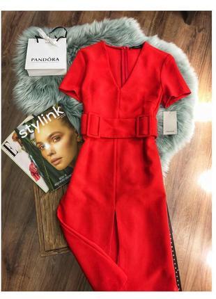 Красное платье с поясом с v вырезом zara1 фото
