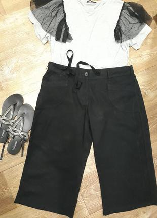 Базовые летние льняные укороченные брюки капри бриджи р.18/евро 46/укр 52-541 фото