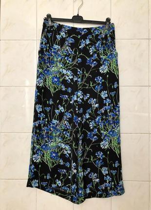 Брюки кюлоты широкие штаны в цветочный принт zara1 фото