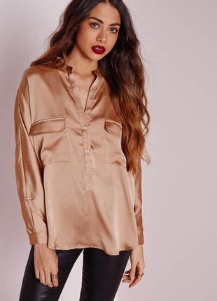 Нереальная сатиновая рубашка свободного кроя оверсайз missguided1 фото