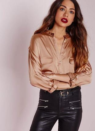 Нереальная сатиновая рубашка свободного кроя оверсайз missguided2 фото