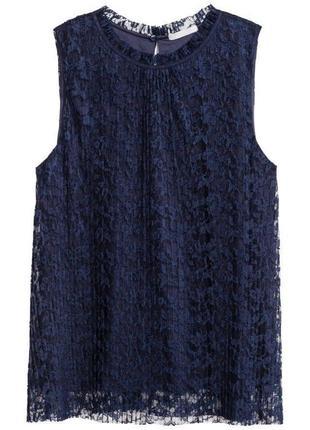 Синяя кружевная блуза майка zara2 фото