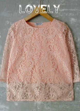 Ажурная хлопковая блуза цвета розовый персик/рукав 3/41 фото