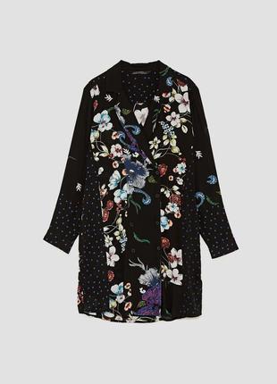Платье рубашка в цветочный принт zara zara zara6 фото
