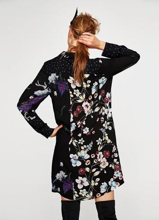 Платье рубашка в цветочный принт zara zara zara8 фото