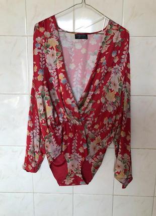 Красная блуза боди в цветочный принт zara10 фото