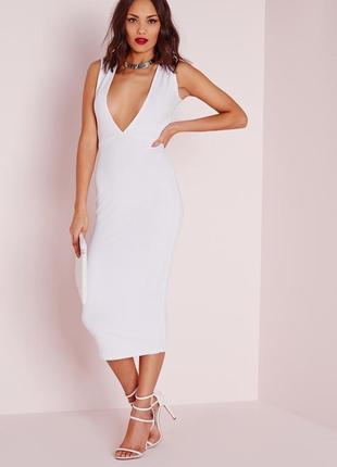 Стильное белое платье миди в рубчик с v вырезом missguided2 фото