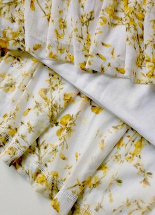 Воздушное и пышное платьице под шифон в нежно-солнечный цветочный принт - h&m/камбоджа5 фото