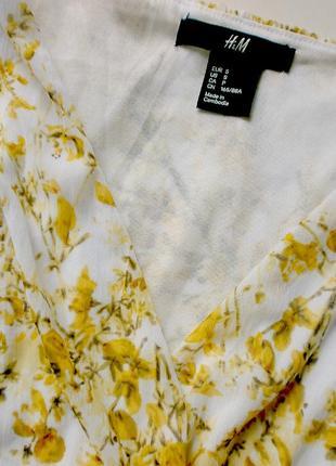 Воздушное и пышное платьице под шифон в нежно-солнечный цветочный принт - h&m/камбоджа3 фото