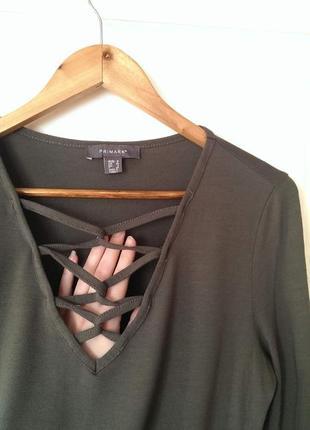 Стильна віскозна хакі кофта/блуза з переплетом, рукавами-кльош від primark, на р. м/l2 фото