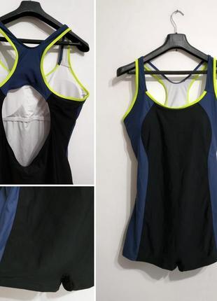 Совместный спортивный купальник с шортами, xl-xxl