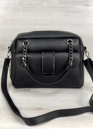 Черная деловая сумка через плечо с длинными ручками2 фото