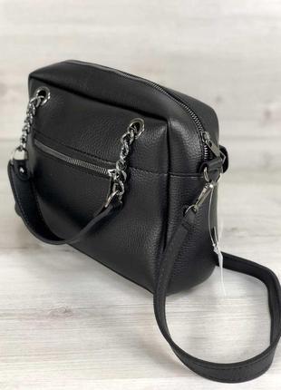 Черная деловая сумка через плечо с длинными ручками5 фото