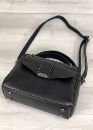 Черная деловая сумка через плечо с длинными ручками4 фото