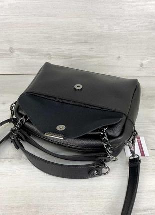Черная деловая сумка через плечо с длинными ручками3 фото