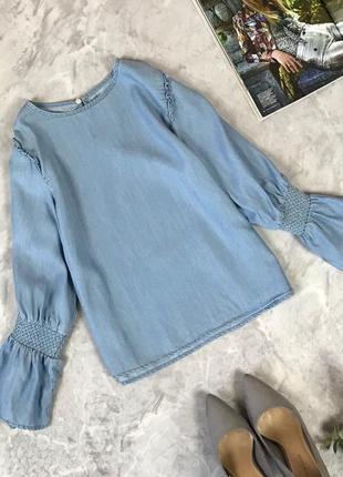 Джинсовая блуза прямого кроя с оригинальными рукавами  bl1920125 zara