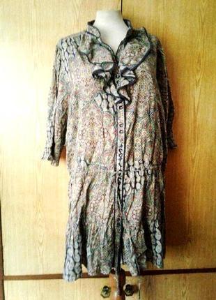 Приятная к телу хлопковая туника -рубашка ,2хl - 4xl.1 фото