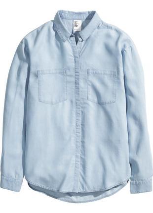 Светло-голубая рубашка из вискозы в стиле оверсайз от h&m m/10/38.
