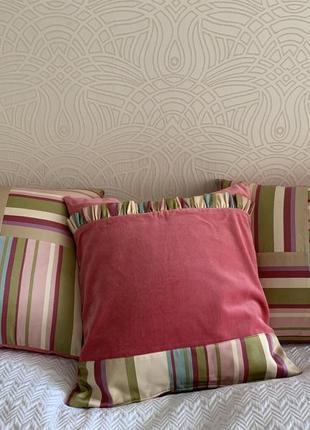 Подушки диванные шёлково-бархатные розовые