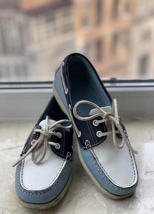 Туфли топсайдеры lumberjack кожаные сине-бело-голубые