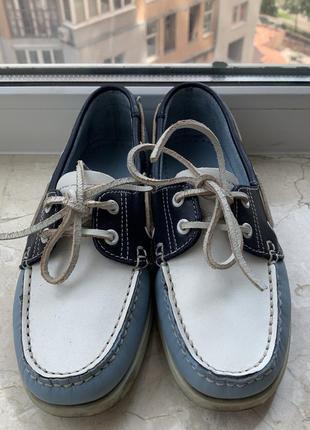 Туфли топсайдеры lumberjack кожаные сине-бело-голубые2 фото