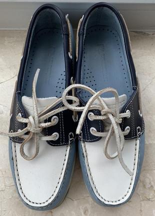 Туфли топсайдеры lumberjack кожаные сине-бело-голубые3 фото