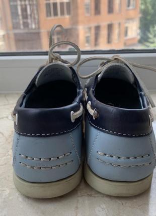 Туфли топсайдеры lumberjack кожаные сине-бело-голубые6 фото