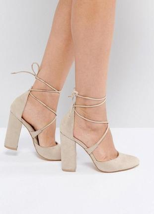 Туфли на блочном каблуке с завязками асос asos truffle collection