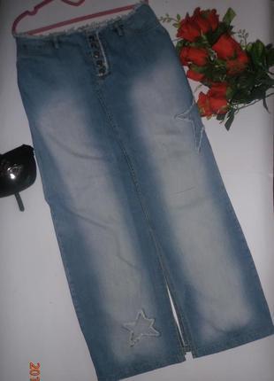 Прямая джинсовая юбка со звездами sistar