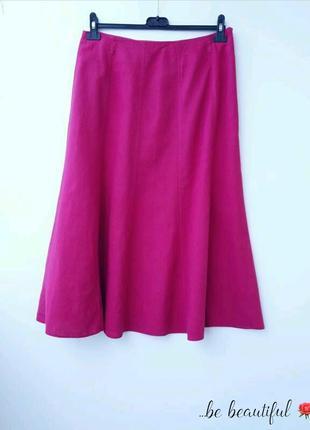 Розовая льняная юбка миди l малиновая юбка