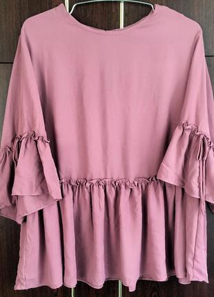 Блуза с рюшами/воланом/свободного кроя/большой размер